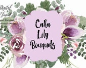 Watercolor Floral Clip-art Purple Flowers Lilac Roses and Cally Lilys Bouquet Wedding Card Amethyst. No. WC122