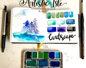 Mystic Landscape Collection, handmade watercolor set,watercolor tin, arteza, waterbrush, handmade watercolor, organic, palette