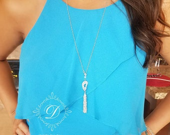 Lariat, Y necklace,  Sterling silver, Tassel, heart chain, adjustable necklace, everyday style, light weight,  long necklace