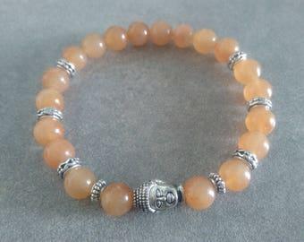 Pearl silver zen Buddha énergétisé orange aventurine bracelet