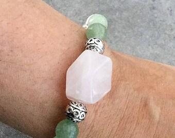 Energized aventurine bracelet, rose quartz, silver beads