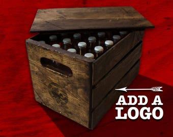 Vintage Beer Crate with Lid - 24 Bottles