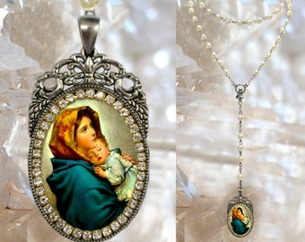 Rosary of Madonna of the Streets Handmade Catholic Christian Religious Jewelry Medal Pendant of Madonnina