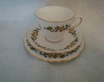 Vintage Tea Cup, Saucer and Cake Plate (Royal Vale English china)