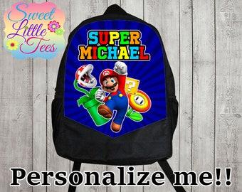 Personalized Super Mario Bros backpack/blaze shirt backpack/boys backpack/personalized boys backpack/ black backpack/B112