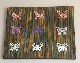 Butterflies and nature on canvas
