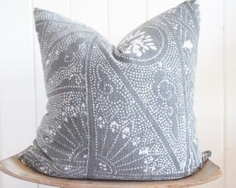 Asian Batik Grey Cream Pillow Cover Faded Boho With 100% Belgian Linen Backing Exposed Gold Zipper