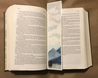 Original Handpainted Bookmark Slate Mountains Watercolor Painting on Watercolor Paper - Laminated