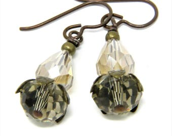 Smoky Quartz Earrings, Champagne Earrings, Simple Sparkly Earrings, Niobium Earrings