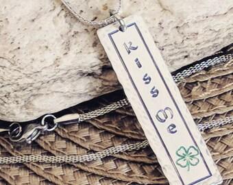 Kiss me I'm Irish, bar necklace, Irish jewelry, Irish necklace, Irish gifts, Irish charm, Free US Shipping, Jewelry under 20, Gifts under 20