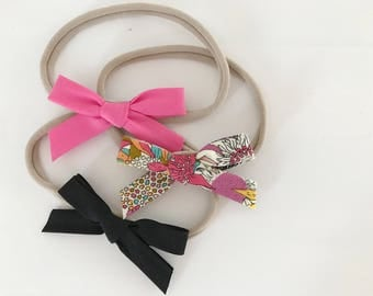 Headbands for baby / child nylon - loops knotted fabric - rose flash, retro, black flowers or the complete trio