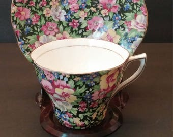 Rosina China Multi Floral Cup and Saucer - made in England