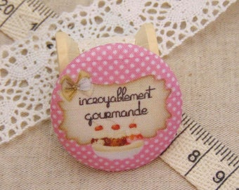 x 1 19mm fabric button incredibly tasty ref A10