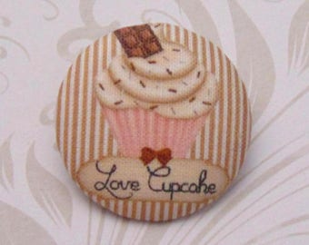 x 1 cabochon 19mm fabric love cupcake ref A29
