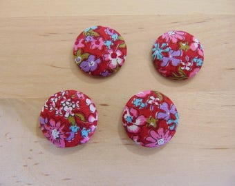 x 4 cabochons 20mm red ref TOUR11 floral fabric