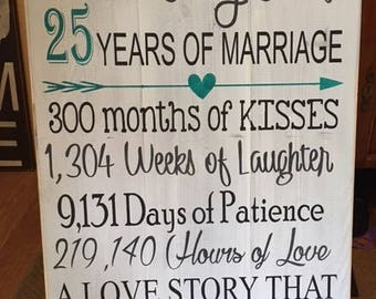 Personalized 25yr Anniversary sign