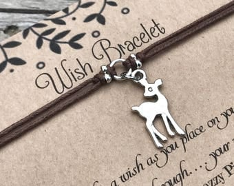 Deer Wish Bracelet, Make a Wish Bracelet, Wish Bracelet, Friendship Bracelet, Deer Bracelet, Fawn Bracelet, Animal Lover Gift, Deer Jewelry