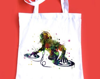 DJ tote bag, music illustration bag, beach Tote, white 100% cotton tote bag, gift idea