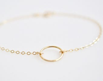 Karma Bracelet, Circle Bracelet, Hoop Bracelet in Sterling Silver or 14k Gold Fill
