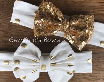 Gold Dot Soft Stretchy Knit Fabric Headwrap Headband with Floppy Bow, Gold Sequin Bow Headwrap Headband