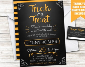 Halloween Baby Shower Invitation Invite Digital Sprinkle Trick or Treat Orange Black 5x7 Diaper Raffle
