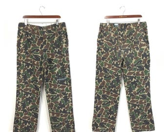 90's camouflage all cotton hunting pants made in usa size w36