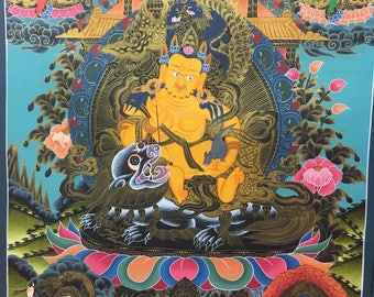 Thangka Hand made Dzambal. Nepal, buddhism