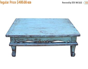 Sales Chinese Distressed Rustic Light Blue Low Kang Table cs2707S