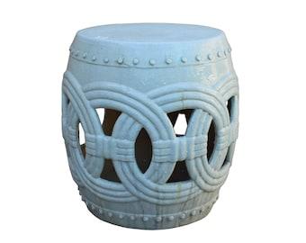 Chinese White Coin Pattern Round Clay Ceramic Garden Stool Cs3271E