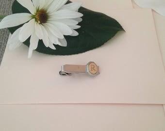 Monogrammed Tie Clip - Tie Clip for Men - Letter R Personalized Tie Clip - Tie Bar - Tie Track - Tie Clips - Gift for Men - Groomsmen Gift