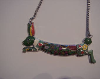 Necklace with rabbit in full color and floral