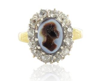 Cameo ring antique Napoleon III Antique 18K yellow gold diamonds