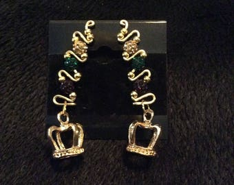 Mardi Gras disco pave earrings with plain gold crown