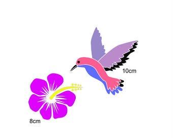 Stencil, Hummingbird and hibiscus