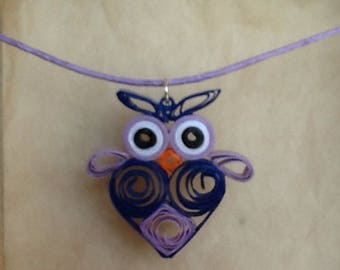 """""""OWL"""" in quilling pendant necklace"""