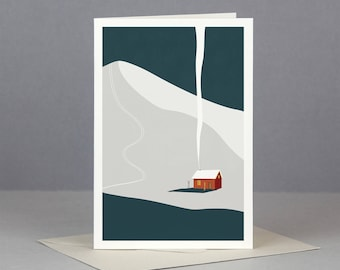 Winter Cabin Greetings Card