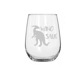 Ornithopod  Dinosaur, Winosaur Etched Wine Glass | Stemless Wine Glass | Gift for Her | Dinosaur Glass | Gift for Dinosaur Lover