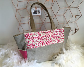Linen and cotton coated Liberty Fuchsia inspired tote bag