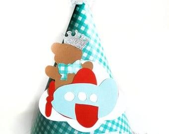 Turquoise birthday party hat Teddy Bear airplane - Boys birthday hat - Teddy Bear Party Hat -party hat headband-1st Birthday Boy-Photo Prop-