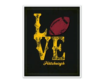 LOVE Pittsburgh Football Poster (Black and Yellow)
