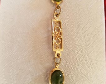 Gold Plated Bracelet with Green Cabochon