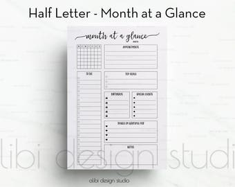 Last Chance - OLD FONT - Month at a Glance, Half Letter, Monthly Planner, Planner Refill, A5 Filofax, kikki K Large, Half Size Inserts