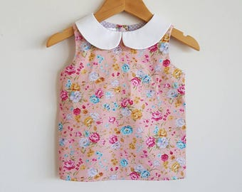 Girls blouse // peter pan collar // peach // pink // floral // spring // gift