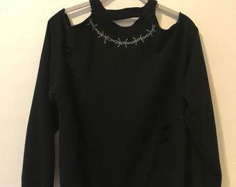 Hand Embroidered Barbed Wire Sweater