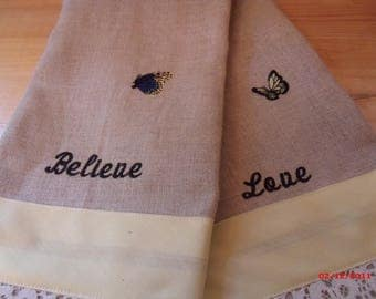 Linen Embroidered Tea Towels, Butterfly Tea Towels, Lace Tea Towels,  Birthday Gift,