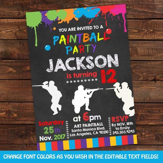 paintball party invitations paintball birthday invitation