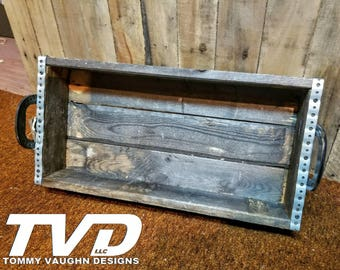 Pallet Wood Rustic Tray with Horseshoe Handles