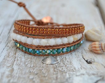 Leathe bracelet perfect for summer - crystals and semiprecious stones