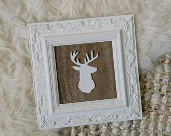 Framed Deer Head Sign, Framed Wood Sign, Wooden Deer Head Sign, Pallet Wood Sign, Gallery Wall Sign, Rustic Wood Sign