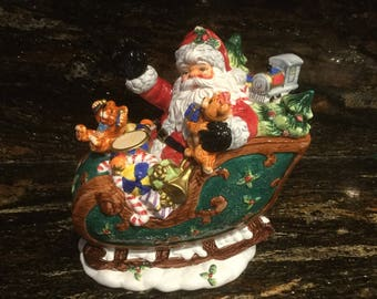 Vintage Santa on Sleigh Cookie Jar